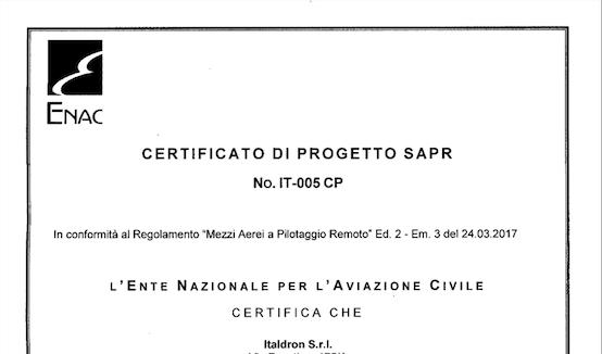 ITALDRON OTTIENE LA CERTIFICAZIONE DI PROGETTO ENAC