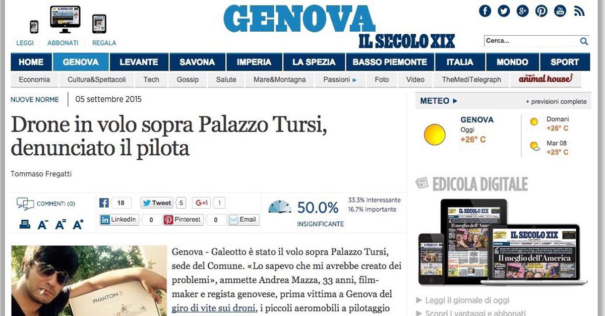 Prima denuncia a Genova per il volo di un drone in città