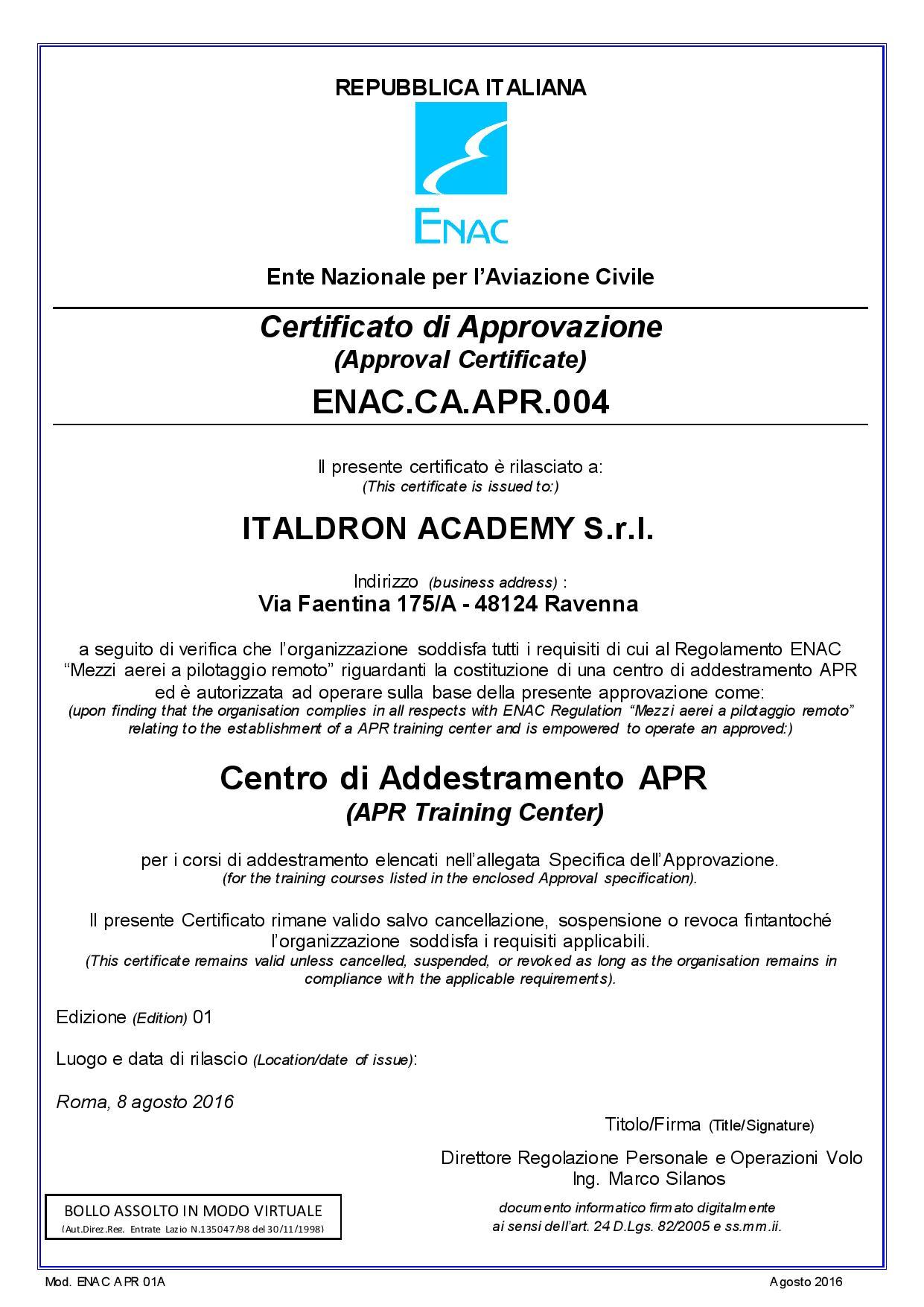 Academy Certificato