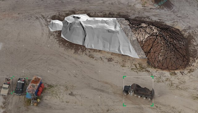 professional drone to the quarry